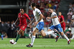 September 10, 2018 - Lisbon, Portugal - Portugal's forward Gelson Martins (L) vies with Italy's defender Alessio Romagnoli (C ) and midfielder Giacomo Bonaventura during the UEFA Nations League A group 3 football match Portugal vs Italy at the Luz stadium in Lisbon, Portugal on September 10, 2018. (Credit Image: © Pedro Fiuza/NurPhoto/ZUMA Press)