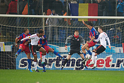 BUCHAREST, ROMANIA - Thursday, December 2, 2010: Liverpool's Ryan Babel and Danny Wilson are thwarted by FC Steaua Bucuresti defenders during the UEFA Europa League Group K match at the Stadionul Steaua. (Pic by: David Rawcliffe/Propaganda)