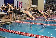 Cedar Rapids Kennedy's Hannah Botkin (left) takes off in the first leg of the 200 yard freestyle relay event at the Girls' High School State Swimming & Diving Championships at the Marshalltown YMCA/YWCA in Marshalltown on Saturday, November 9, 2013. Kennedy placed tenth in the event with a time of 1:39.87.