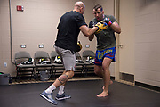 DALLAS, TX - MAY 13:  Joachim Christensen warms up in the locker room before fighting Gadzhimurad Antigulov during UFC 211 at the American Airlines Center on May 13, 2017 in Dallas, Texas. (Photo by Cooper Neill/Zuffa LLC/Zuffa LLC via Getty Images) *** Local Caption *** Joachim Christensen
