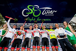 Overall best team UAE Team Emirates (Tadej Pogacar (SLO), Jan Polanc (SLO) of UAE Team Emirates, Marco Marcato (ITA) of UAE Team Emirates, Simone Consonni (ITA) of UAE Team Emirates, Rui Oliveira (POR) of UAE Team Emirates, Diego Ulissi (ITA) of UAE Team Emirates celebrate during trophy ceremony after the 5th Stage of 26th Tour of Slovenia 2019 cycling race between Trebnje and Novo mesto (167,5 km), on June 23, 2019 in Slovenia. Photo by Vid Ponikvar / Sportida