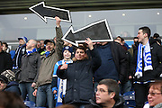 Brighton fans with arrows pointing towards the goal during the Sky Bet Championship match between Blackburn Rovers and Brighton and Hove Albion at Ewood Park, Blackburn, England on 16 January 2016.