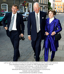 Left to right, the HON.NAT ROTHSCHILD and his parents LORD & LADY ROTHSCHILD, at a wedding in Suffolk in London on 20th September 2003.PMT 69