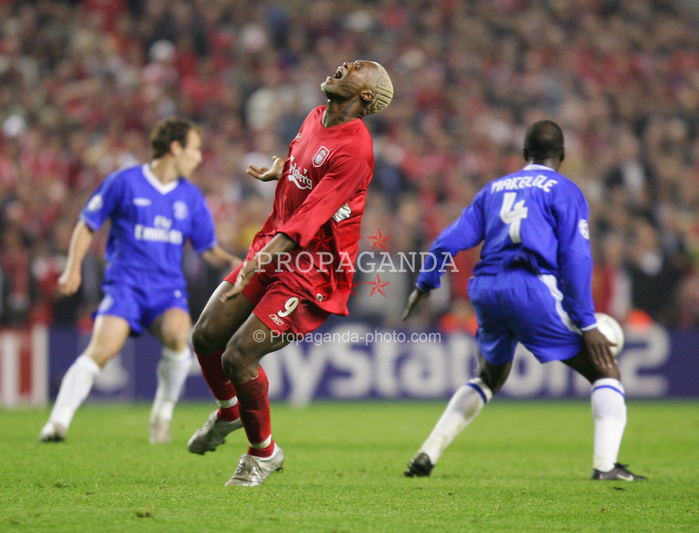 LIVERPOOL, ENGLAND. TUESDAY, MAY 3rd, 2005: Liverpool's Djibril Cisse rues a missed chance against Chelsea during the UEFA Champions League Semi Final 2nd Leg at Anfield. (Pic by David Rawcliffe/Propaganda)