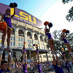 September 10, 2011; Baton Rouge, LA, USA;  LSU Tigers cheerleaders perform outside prior to kickoff of a game against the Northwestern State Demons at Tiger Stadium. LSU defeat Northwestern State 49-3. Mandatory Credit: Derick E. Hingle