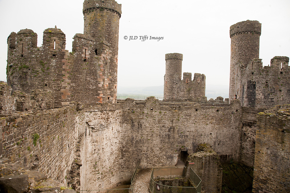 Views of the ruins of Conwy Castle, Conwy, Wales. Exterior view from near the entrance.