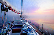 351300-1001 ~ Copyright: George H.H. Huey ~ Dawn from the deck of a sailboat along the Atlantic Intracoastal Waterway, Pamlico Sound, North Carolina.