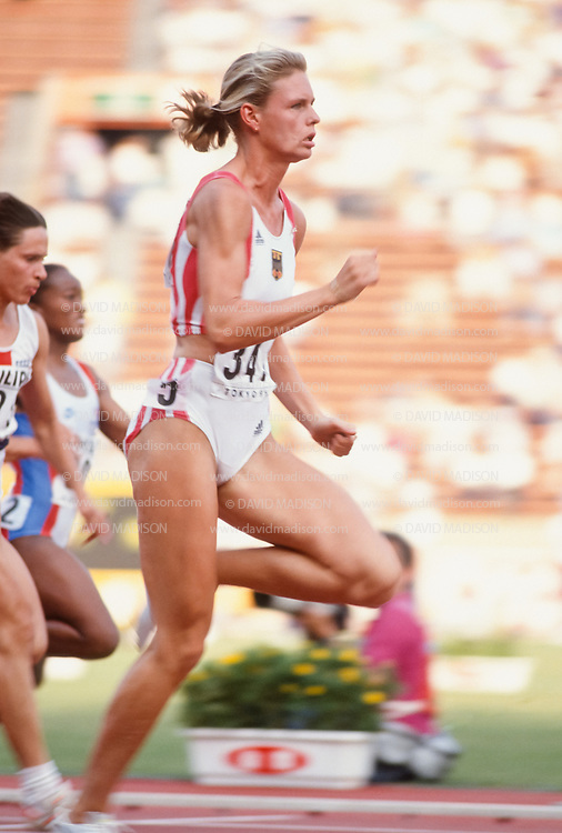 TOKYO - AUGUST 1991:  Katrin Krabbe #343 of Germany competes in the 100 meter event of the 1991 IAAF World Championships during August 1991 at the National Olympic Stadium in Tokyo, Japan.  Krabbe was the gold medalist in the event.  (Photo by David Madison/Getty Images)