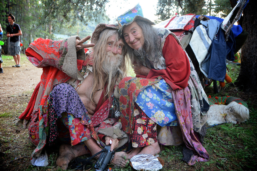 Grandpa and Grandma Woodstock at the gathering.  Rainbow Gatherings started back in 1972, acts of self-expression, inclusiveness, and the right to peacefully assemble. Rainbow Gathering 2013 was held in Montana, outside of Jackson.
