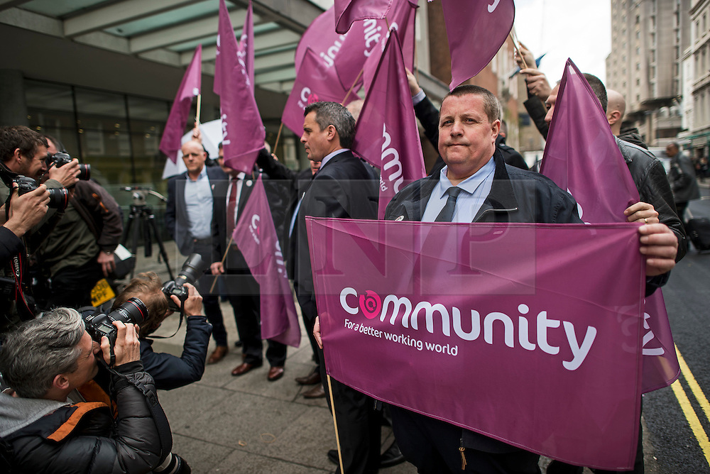 © Licensed to London News Pictures. 04/04/2016. London, UK. Workers from TATA Steel arrive at Congress House in London where they are due to hold a meeting, organised by the Trade Union Congress (TUC), to discuss the future of Port Talbot TATA steel works. Photo credit: Ben Cawthra/LNP