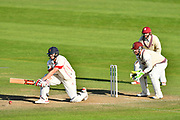 Ryan McLaren of Lancashire plays a sweep shot during the Specsavers County Champ Div 1 match between Somerset County Cricket Club and Lancashire County Cricket Club at the Cooper Associates County Ground, Taunton, United Kingdom on 14 September 2017. Photo by Graham Hunt.