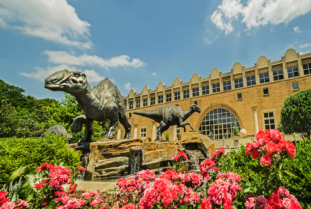 A family of bronze dinosaurs — lophorhothon atopus — frolics in the Dinosaur Plaza in front of the Fernbank Museum of Natural History, in Atlanta, Georgia, May 23, 2014. In August 2009, Fernbank patrons voted to name the dinosaurs Haddie, Georgia, and Ferny. (Photo by Carmen K. Sisson/Cloudybright)