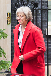 Downing Street, London, December 8th 2015. Home Secretary Theresa May leaves Downing Street following the weekly cabinet meeting.