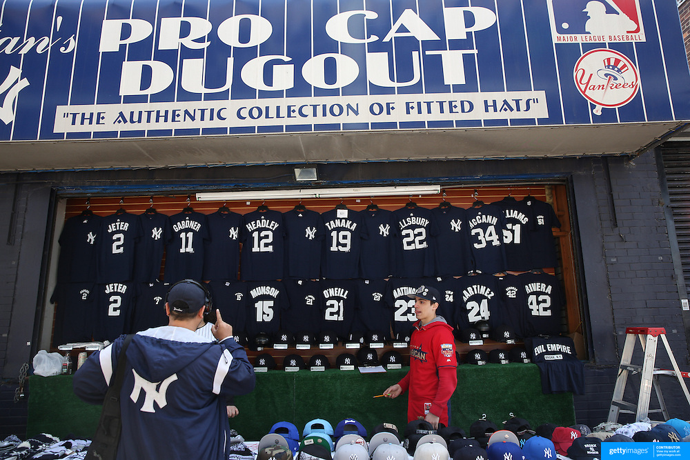 Yankee merchandise for sale outside Yankee Stadium during the New York Yankees Vs Toronto Blue Jays season opening day at Yankee Stadium, The Bronx, New York. 6th April 2015. Photo Tim Clayton