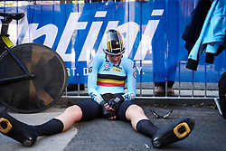 Ann-Sophie Duyck (BEL) slumps on the floor after her effort at UCI Road World Championships 2018 - Elite Women's ITT, a 27.7 km individual time trial in Innsbruck, Austria on September 25, 2018. Photo by Sean Robinson/velofocus.com
