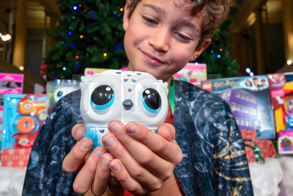 "© Licensed to London News Pictures. 13/11/2019. LONDON, UK. Xavier (aged 10) plays with an Owleez owl by Spin Master Toys at the preview of ""DreamToys"", the official toys and games Christmas Preview, held at St Mary's Church in Marylebone.  Recognised as the countdown to Christmas, the Toy Retailer's Association, an independent panel of leading UK toy retailers, have selected the definitive and most authoritative list of which toys will be the hottest property this Christmas.  Photo credit: Stephen Chung/LNP"