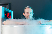 Brussels Belgium 17 May 2017 Sensyl SBBe offers cryotherapy. A 3 minute bath at -180 degrees is good for everything.