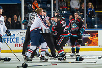 KELOWNA, CANADA - OCTOBER 13:  Dom Schmiemann #3 of the Tri-City Americans drops the gloves with Kyle Topping #24 of the Kelowna Rockets at the end of the game on October 13, 2018 at Prospera Place in Kelowna, British Columbia, Canada.  (Photo by Marissa Baecker/Shoot the Breeze)  *** Local Caption ***