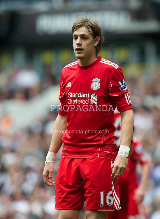 LONDON, ENGLAND - Sunday, September 18, 2011: Liverpool's Sebastian Coates makes his club debut during the Premiership match against Tottenham Hotspur at White Hart Lane. (Pic by David Rawcliffe/Propaganda)
