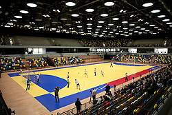 © Licensed to London News Pictures. LONDON, UK  09/06/11. Members of the British Olympic handball team try out the newly completed handball and goalball arena. Built for the games, the handball arena in East London is set to become one of London's largest event venues when the Olympic game finish. Please see special instructions for usage rates. Photo credit should read Matt Cetti-Roberts/LNP