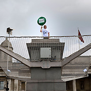 """London July 6th Opening of the Fourth Plint project """"One and Other""""  by Anthony Gormley where the author, Mayor Boris Johnson and the first act  where taken by surprise  by protestor Stuart Holmes who climbs on to the Fourth Plinth in Trafalgar Square...***Standard Licence  Fee's Apply To All Image Use***.Marco Secchi /Xianpix. tel +44 (0) 845 050 6211. e-mail ms@msecchi.com or sales@xianpix.com.www.marcosecchi.com"""