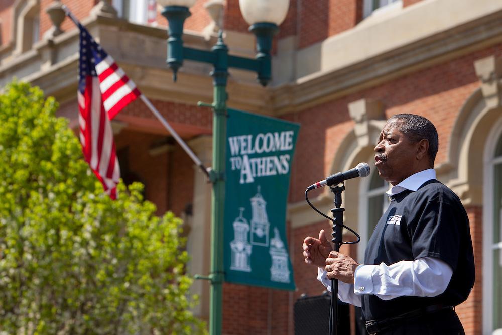 Ohio University President Roderick McDavis speaks to a crowd that gathered on Court Street in Athens to celebrate International Week on April 19, 2014.  Photo by Ohio University / Jonathan Adams