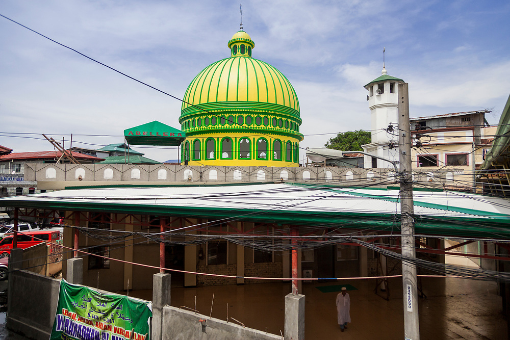 Davao City, Mindanao, Philippines - JUNE 22: A mosque at Mini Forest Barangay 23C.  Thousands have fled Marawi to flee the ongoing conflict after the ISIS backed Maute Group has sieged the city. Currently, over 570 families and roughly 2500 evacuees from Marawi reside in the Mini Forest.