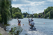 """Maidenhead, United Kingdom. """"Doubles Racing"""", with the Umpire following.  """"Thames Punting Club Regatta"""", Bray Reach.<br /> 13:19:20 Sunday  06/08/2017<br /> <br /> [Mandatory Credit. Peter SPURRIER Intersport Images}.<br /> <br /> LEICA M (Typ 262) mm  f4   1/1500 /sec    100 ISO River Thames, .......... Summer, Sport, Sunny, Bright, Blue Skies, Skilful,"""