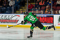 KELOWNA, BC - JANUARY 19:  Noah Gregor #18 of the Prince Albert Raiders takes a slap shot against the Kelowna Rockets at Prospera Place on January 19, 2019 in Kelowna, Canada. (Photo by Marissa Baecker/Getty Images)***Local Caption***