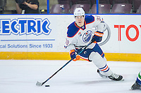 PENTICTON, CANADA - SEPTEMBER 16: Jesse Puljujarvi #39 of Edmonton Oilers skates with the puck against the Vancouver Canucks on September 16, 2016 at the South Okanagan Event Centre in Penticton, British Columbia, Canada.  (Photo by Marissa Baecker/Shoot the Breeze)  *** Local Caption *** Jesse Puljujarvi;
