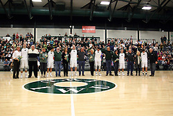 20 February 2016:  The player seniors and their parents or escorts during an NCAA men's division 3 CCIW basketball game between the Elmhurst Bluejays and the Illinois Wesleyan Titans in Shirk Center, Bloomington IL