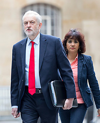© Licensed to London News Pictures. 23/04/2017. London, UK.  Leader of the Labour Party Jeremy Corbyn and his wife Laura Alvarez arriving at BBC Broadcasting House to appear on The Andrew Marr Show this morning. Photo credit : Tom Nicholson/LNP