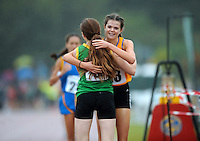 21 Aug 2016: Alex O'Neill, right, from Clare, finishing 2nd and congratulates Shona O'Brien, from Kerry, for winning the Girls U16 1500m final.  2016 Community Games National Festival 2016.  Athlone Institute of Technology, Athlone, Co. Westmeath. Picture: Caroline Quinn