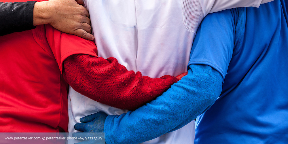 Portrait of embracing French supporters, Rugby World Cup, RWC 2011 Auckland, New Zealand.