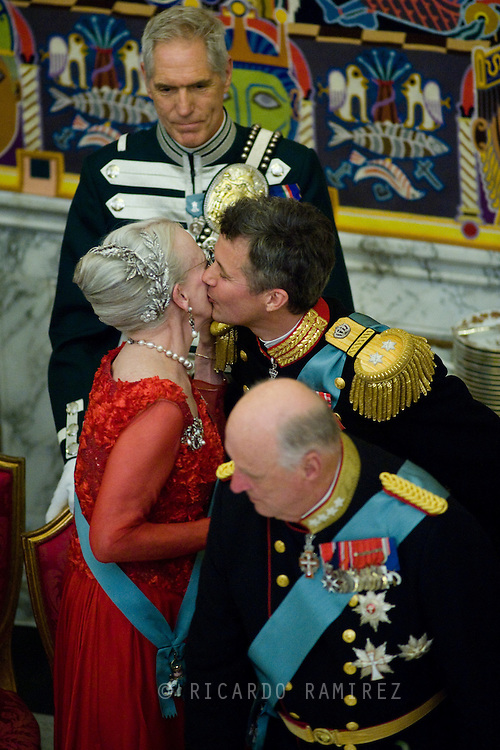 15.04.2015. Copenhagen, Denmark.Crown Prince Frederik greets his mother Queen of Denmark after giving his speech in commemoration of The 75th Birthday of Queen Margrethe of Denmark at Christiansborg Palace.Photo:© Ricardo Ramirez