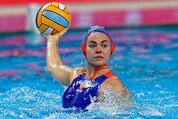 21-01-2020 HUN: European Water polo Championship, Budapest <br /> Slovakia - Netherlands 2—32 / Iris Wolves #5 of Netherlands during LEN European Aquatics Waterpolo on January 21, 2020. SVK vs Netherlands in Duna Arena in Budapest, Hungary