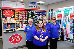 The official opening of the new Post Office inside the Ryman store in Station Street, Burton-On-Trent.  Pictured is, from left, branch manager Marie Thomas, Deb Avcote, Amy Walster and Tracy Statham.<br /> <br /> Date: September 8, 2017