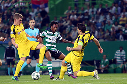October 18, 2016 - Lisbon, Portugal - Dortmund's defender Matthias Ginter (L) fights for the ball with Sporting's forward Gelson Martins (C ) and Dortmund's defender Sokratis Papastathopoulos during the UEFA Champions League Group F football match Sporting CP vs Borussia Dortmund at the Alvalade stadium in Lisbon, Portugal on October 18, 2016. Photo: Pedro Fiuza (Credit Image: © Pedro Fiuza via ZUMA Wire)