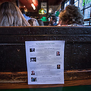 WASHINGTON, DC - MAR7: A list of tables President John F. Kennedy favored at Martin's Tavern in Georgetown, where actor Caspar Phillipson, the Danish actor who played JFK in the recent movie Jackie, reenacts some of President Kennedy's most famous speeches, March 7, 2017. (Photo by Evelyn Hockstein/For The Washington Post)