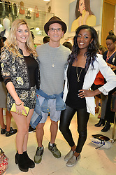 Left to right, ASHLEY JAMES, OLIVER PROUDLOCK and A J ODUDU at a party to celebrate the launch of French Connection's #CANTHELPMYSELFIE -The UK's first in-store interactive selfie booths and windows held at French Connection, 249-251 Regent Street, London on 15th April 2014.