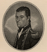 Matthew Flinders (1774-1814) English naval officer, hydrographer and explorer. Surveyed coast of New South Wales (1795-1800). Circumnavigated Australia and surveyed the whole coastline (1801-1803). Engraving.