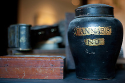 © Licensed to London News Pictures. 24/02/2012. LONDON, UK. A jar marked 'Cannabis', collected by singer Pete Doherty, is seen at an exhibition in Camden today (24/02/12). The exhibition entitled 'On Blood: A Portrait of an Artist', held at the Cob Gallery in Camden and set to run between the 26th of February and the 4th of March, features works and collections by the former Libertines lead singer. Photo credit: Matt Cetti-Roberts/LNP