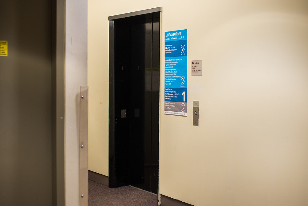 03/12/2018 - An elevator in Tisch Library is pictured on Mar 12, 2018. (Ray Bernoff / The Tufts Daily)