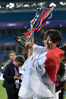 Saki Kumagai of Olympique Lyon celebrates with the trophy during the UEFA Women's Champions League Final between Lyon Women and Paris Saint Germain Women at the Cardiff City Stadium, Cardiff, Wales on 1 June 2017. Photo by Giuseppe Maffia.<br /> <br /> Giuseppe Maffia/UK Sports Pics Ltd/Alterphotos