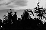 The lighthouse in Mackinaw City Michigan, captured in silhouette.