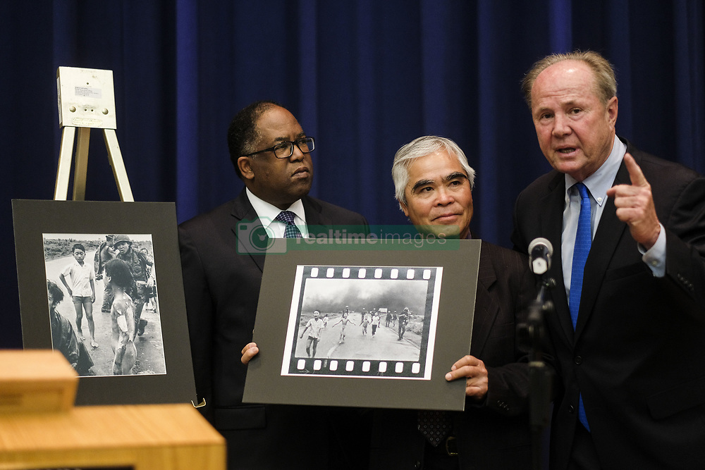 April 4, 2017 - Los Angeles, California, U.S - The Los Angeles County Board of Supervisors honor Pulitzer Prize-winning photographer Nick Ut for his 51 years at the Associated Press, April4, 2016 in Los Angeles. The Los Angeles County Board of Supervisors honor retired Pulitzer Prize-winning photographer Nick Ut, crediting his famous photo of a young Vietnamese girl burned in a napalm bombing with shifting public opinion against the Vietnam War. The board recognized Ut's 51-year career with the Associated Press by declaring Tuesday Nick Ut Day. (Credit Image: © Ringo Chiu via ZUMA Wire)