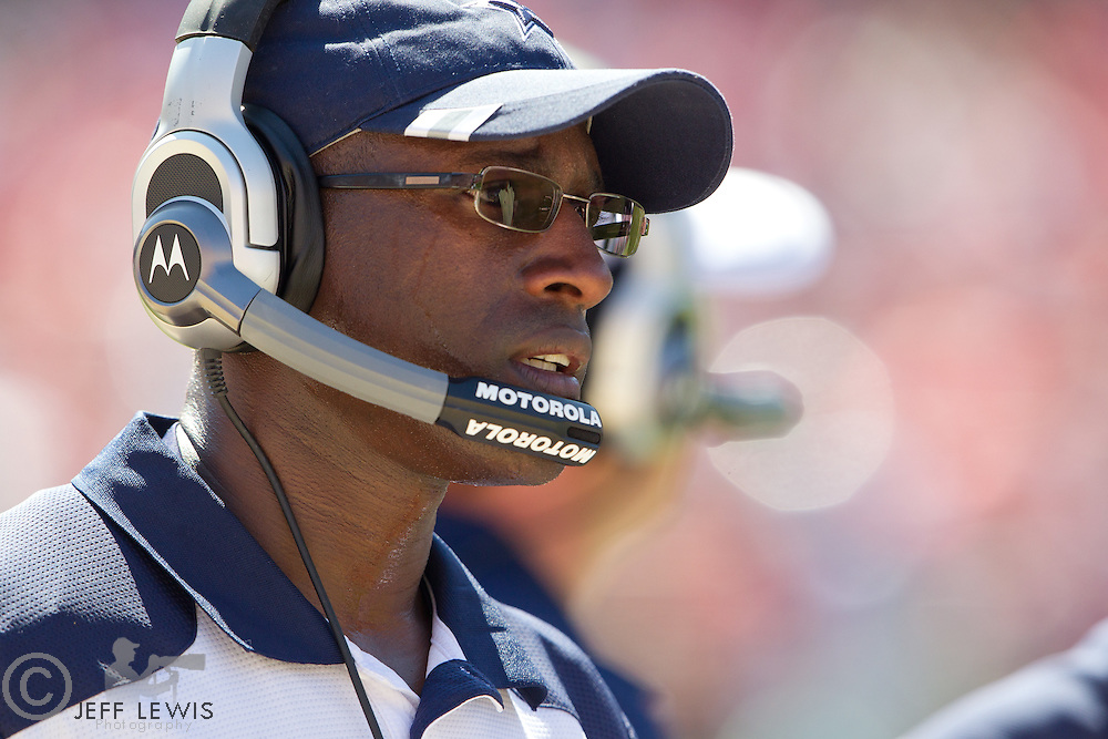 18 September 2011: Secondary coach Brett Maxie of the Dallas Cowboys coaches against the San Francisco 49ers during the first half of the Cowboys 27-24 overtime victory against the 49ers in an NFL football game at Candlestick Park in San Francisco, CA.