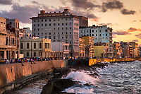 HAVANA, CUBA - CIRCA MAY 2016: View of the Malecon in Havana, Cuba.