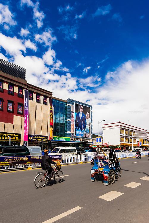 Street scene, Beijing East Road, Lhasa, Tibet (Xizang), China.