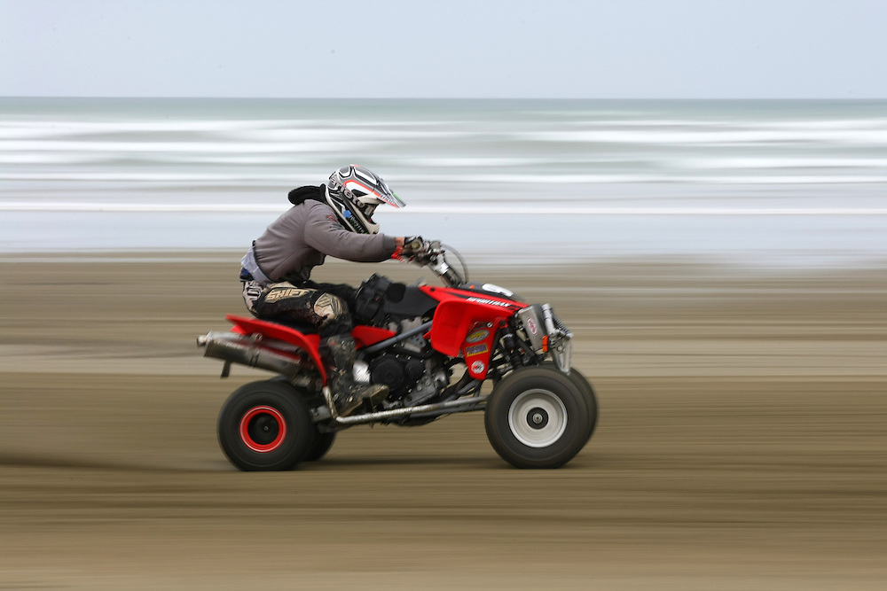 Christchurch's Michael Shackleton in the quad bikes race at the 2012 New Zealand Beach Racing Championships, Burt Munro Challenge, Oreti Beach, Invercargill, New Zealand, Friday, November 22, 2012. Credit:SNPA / Dianne Manson.